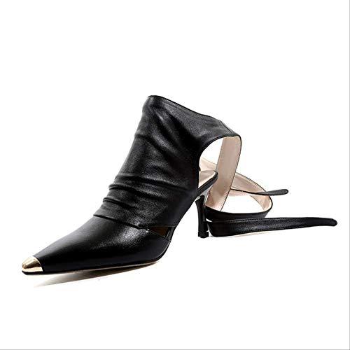 SHZSMHD Vrouwen Mode Ontwerp Punt Teen Vetersluiting Gladiator Laarzen Cut-out Rope-up Hoge Hak Enkellaarzen Western Style Street Schoenen