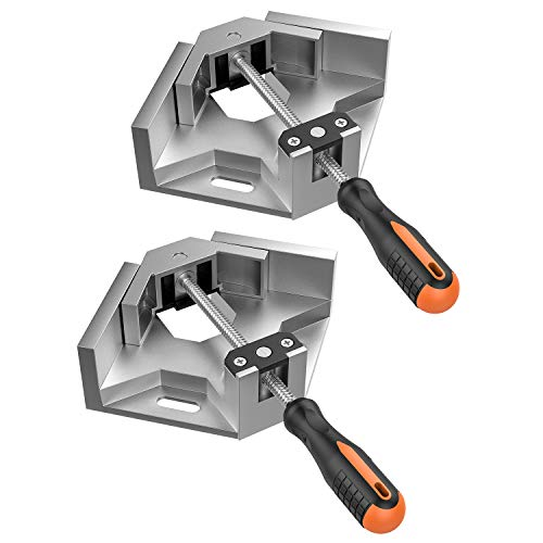 Housolution Right Angle Clamp, [2 PACK] Single Handle 90° Aluminum Alloy Corner Clamp, Right Angle Clip Clamp Tool Woodworking Photo Frame Vise Holder with Adjustable Swing Jaw - Silver Gray