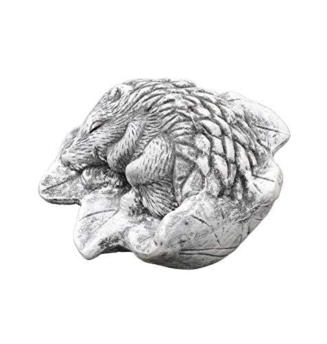 Stone and Style Steinfigur Igel Emil auf Blatt, massiver Steinguss, Frost- und Wetterfest bis -30°C