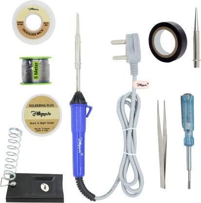 Walkers 9In1 25W Soldering Iron, Tweezer, Iron Stand, Soldering Paste, Soldering Wire, Desoldering Wick, Pointed Bit, Tester, Insulation Tape