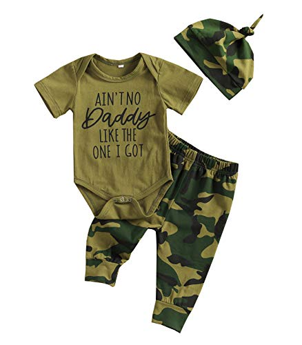 Newborn Baby Boy Clothes Aunties/Mama/Daddy/Uncle Sayings Bodysuits Camouflage Pants+Hats Romper Set (Y-Aint No Daddy Like The one I got, 0-3 Months)