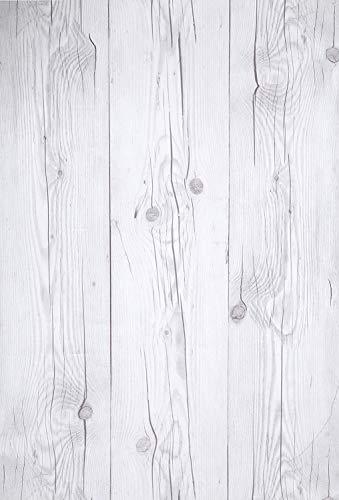 (Blanco Vintage, Paquete de 1) Papel tapiz de mural autoadhesivo con veta de madera reciclada y rústica 50cm X 15M (19,6
