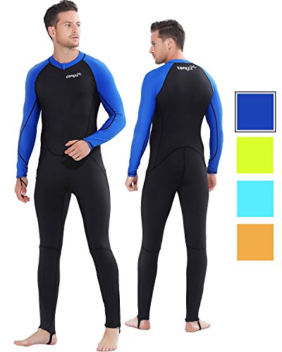 COPOZZ Diving Skin, Men Women Youth Thin Wetsuit Rash Guard- Full Body UV Protection - for Diving Snorkeling Surfing Spearfishing Sport Skin (Black/Navy-Blue, Large for Men)