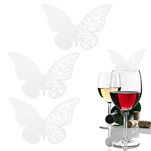 Shipenophy Tarjetas de Nombre de Boda Tarjeta de Copa de Vino Tarjeta de Copa Hueca Elegante Tarjeta de Mesa de Boda para Fiesta(White)