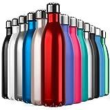 BICASLOVE Botella de Agua de Acero Inoxidable,Diseño de Pared Doble,Boca EstáNdar,para Correr,Gimnasio,Yoga,Ciclismo,750ML,Roja