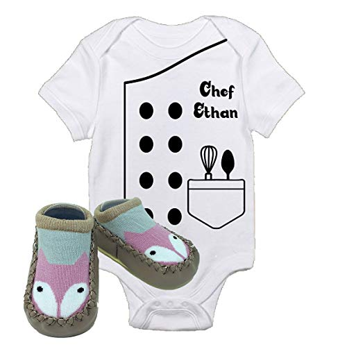Chef Ethan Outfit Future Halloween Onsies with Fox Shoes Best Baby Gift Idea (0-3 Months Without Shoes)