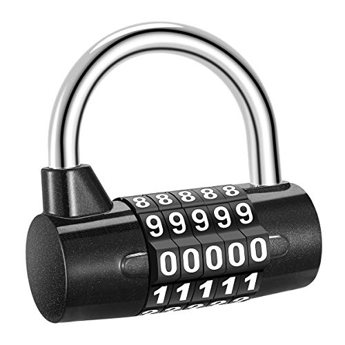 ORIA Combination Lock, 5 Digit Combination Padlock, Gym Lock, Safety Lock, Luggage Travel Lock for Toolbox, Closet, Closet, Gym Locker, Bicycle, Luggage, Cabinet, Outdoor