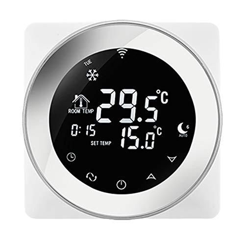 Beok 3A Termostato Wifi Programable Digital de Calefacción por Calderas de Gas,con Pantalla LCD Controlador de Temperatura de Luz de Fondo Blanco