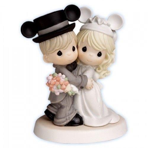 Precious Moments Disney Mickey Ear Wedding Bride and Groom Porcelain Figurine