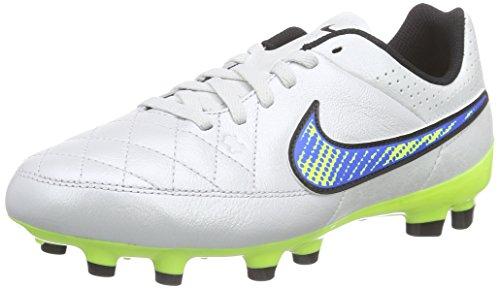 Nike Jungen Jr. Tiempo Genio Leather FG Fußballschuhe, Weiß (White/Volt-soar-Black 174), 38 EU