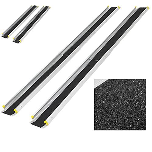 ECD Germany 2X Rampas de Aluminio con Revestimiento Antideslizante 122 - 215 cm Plegable hasta 270 kg para Escaleras y Obstáculos Rampa Telescópica Carril de Carga para Sillas de Ruedas
