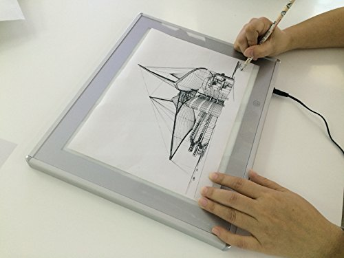 """JUNLON A5 Aluminum LED Light Box Pad Great Variety Tracing Board Table for Drawing Artists Stencil Tattoo Artcraft Tracing Animation Extremely Bright Adjustable Brightness in 0.67""""Thickness"""