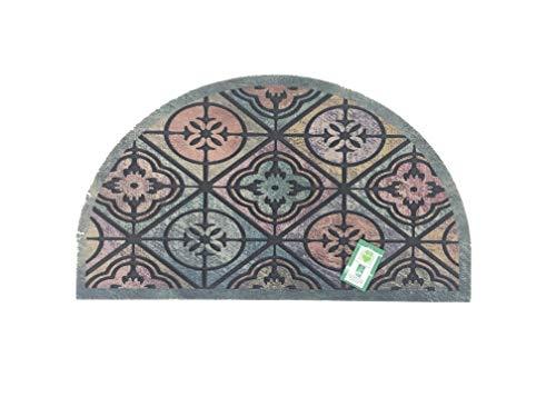 De'Carpet Felpudo Media Luna Entrada Casa Original Divertido Moderno Fibra Poliester Fregable Rombos Baldosa 40x70