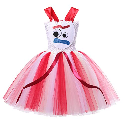 DOCHEER Girls Princess Costume Deluxe Queen Dress Up for Halloween Cosplay Party Red