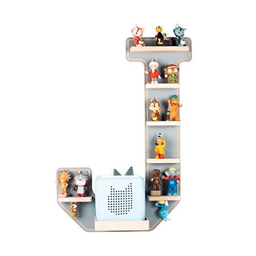 BOARTI Kinder Regal Buchstabe J in Grau - geeignet für die Toniebox und ca. 26 Tonies - zum Spielen und Sammeln