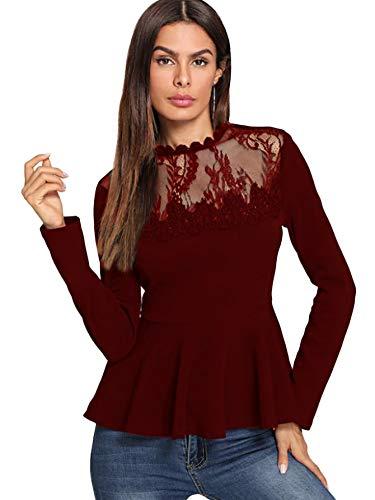 Romwe Women's Lace Mesh Round Neck Pleated Elegant Slim Fit Peplum Top Shirt Blouse Burgundy Medium