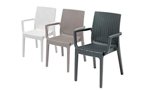 2 Sedie in rattan da esterno, modello Aurora, con braccioli, per salottino da esterno, sedie impilabili, Design Made in Italy, 55x54x85 cm, colore Antracite, Tortora o Bianco.