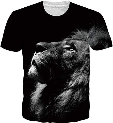 Goodstoworld 3D Herren T-Shirt Mens Lion Grafik Drucken Print Sommer Lustig Kurzarm Bunte Rundhals T Shirt Tee Tshirt M