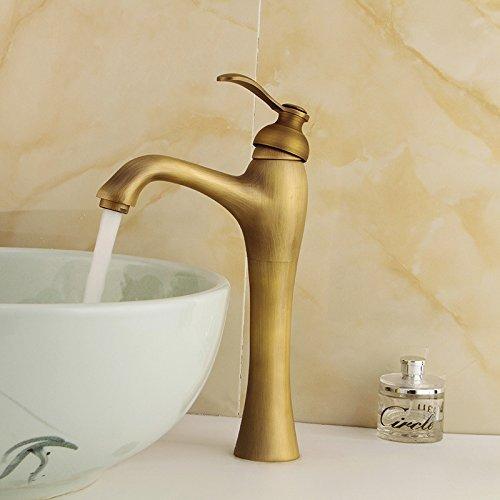 CZOOR Cuerpo largo de Antigüedades Grifo lavabo de dona un asa de latón grifo mezclador Baño y Cocina antigua Sink faucet