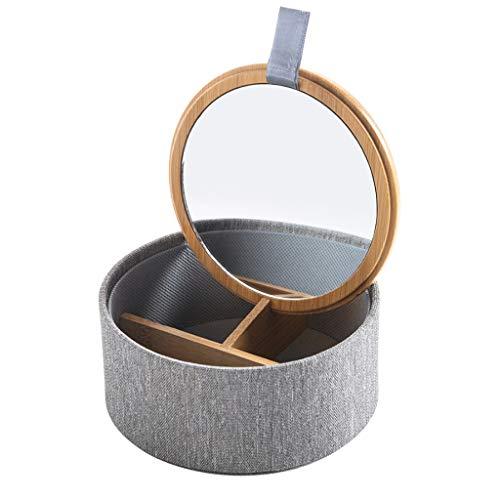 Joyero Bambú Jewelry Box Organizer Storage para Mujer Joyeria Caja con Mirror Cross Pattern Tela Outer Tela Pequeña Joyería Caja De La Regalo de joyería