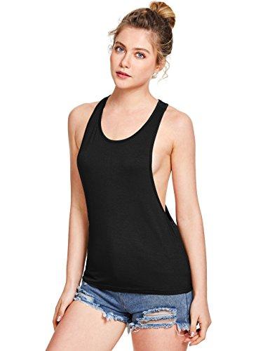 SweatyRocks Women's Sleeveless Flowy Loose Fit Racerback Yoga Workout Tank Top X-Small Black