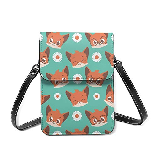Animales lindo bebé zorro ligero Crossbody teléfono celular bolso para las mujeres amplios bolsillos bolsas