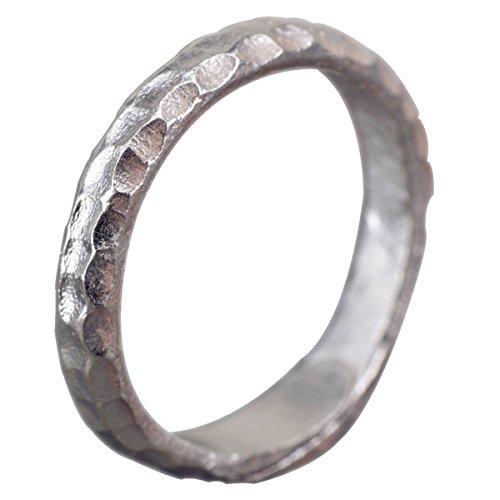 NicoWerk Silberring Schlicht Gehämmert Ring Silber 925 Verstellbar Damenringe Damen Schmuck SRI205