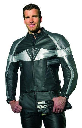 Racer Corium Lederjacke, Schwarz-Silber, Größe 56