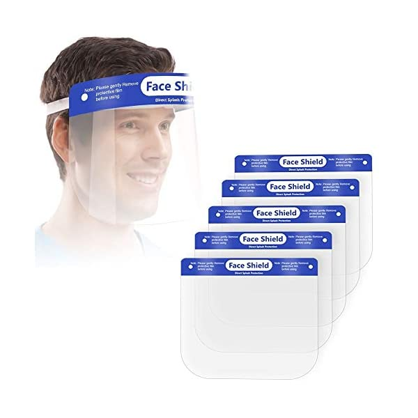 5 Pcs Face Shield Protect Eyes and Face with Clear Open Protective Film, Elastic Band and Comfort Sponge, Anti,Dust,Pollution,Fog