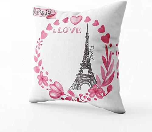 Fundas de almohada, símbolos de París Torre Eiffel en el amor.Rosa acuarela floral corona corazón ramas cinta en tarjetadibujo dibujado a mano pintura Vintage floral Vector ilustración RománticaC