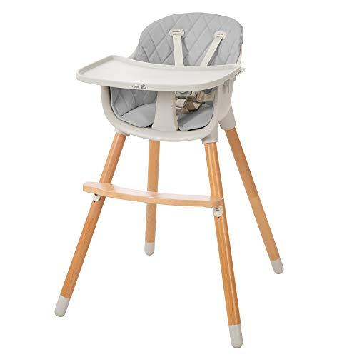 roba Trona y silla infantil 2 en 1 'StyleUp wood' incluye asiento acolchado en color gris, 7575GA