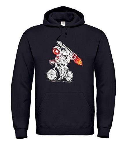 Druckerlebnis24 Hoodie - Astronaut Fahrrad Rakete Feuer - Kapuzenpullover Unisex für Kinder - Junge und Mädchen