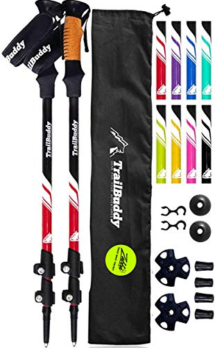 TrailBuddy Lightweight Trekking Poles - 2-pc Pack Adjustable Hiking or Walking Sticks - Strong Aircraft Aluminum - Quick Adjust Flip-Lock - Cork Grip, Padded Strap (Beetle Red)