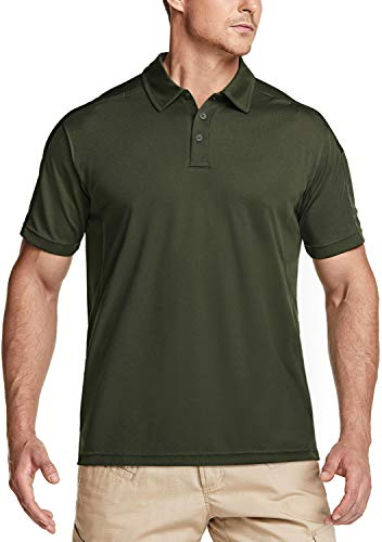 CQR Men's Short Sleeve Tactical Work Shirts, Dry Fit Lightweight Polo Shirts, Outdoor Performance UPF 50+ Collared Shirt, Tacti Dri(tok001) - Army Green, X-Large