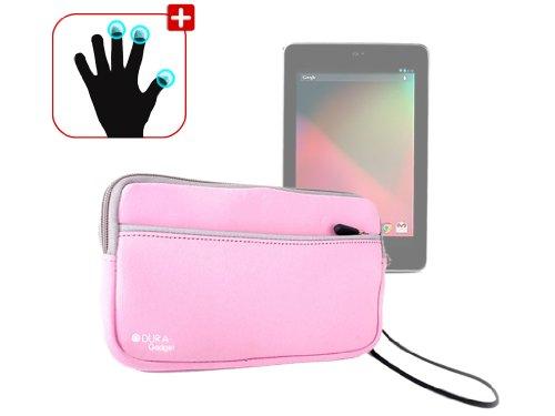 DURAGADGET Housse étui résistant en néoprène Rose + Gants capacitifs conducteurs Taille M (Moyen) pour Google Nexus 7 ASUS Tablette Android 4.1 Jellyb
