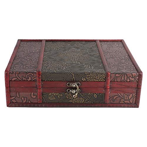 Vintage opbergdoos van hout, handgemaakt, decoratief, handgemaakte schatkist, accessoires met gesp van legering, foto-opbergkist van hout