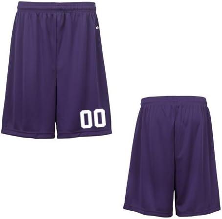 Purple Youth Large (Custom with Uniform #) Athletic Wicking Sports Shorts