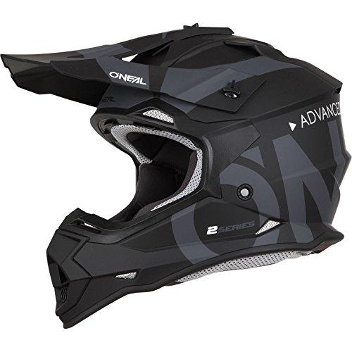 O'NEAL | Motocross-Helm | MX Enduro | ABS-Schale, Sicherheitsnorm ECE 22.05, Lüftungsöffnungen für optimale Belüftung & Kühlung | 2SRS Helmet Slick | Erwachsene | Schwarz Grau | Größe M