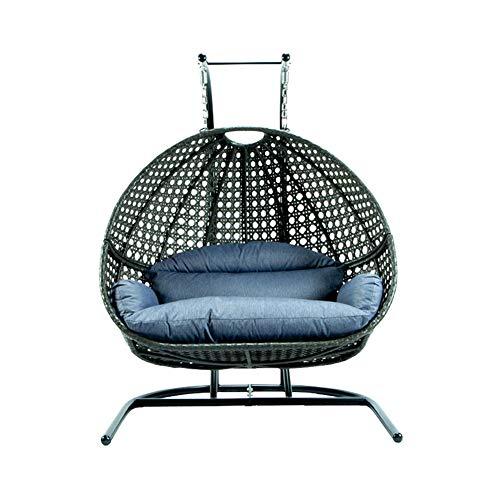 Wicker Rattan Swing Chair, Deluxe Swing Chair 2 Person Hanging Egg Hammock Chair Cushions Hammock...