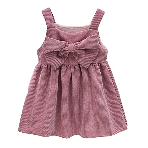 iiniim Toddler Little Girl Corduroy Suspender Skirt Mini Overall Dress with Bowknot Pink 2-3 Years