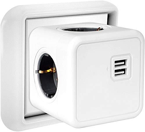 USB Steckdose Kabellos, 4 Steckdosen und 2 USB Ladegerät Anschluss, 6-in-1 Adapter mit USB Ladegerät, kompatibel für Reisen, Heim, Büro, Telefone, iPhone X/XS, Tablets, Kreuzfahrtschiff