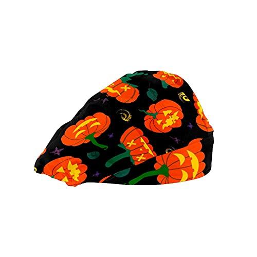Gorra de mujer para cabello largo con banda elástica ajustable para el sudor Gorras de trabajo para hombres bufanda de cabeza de trabajo 3D Impreso Sombreros Calabaza Otoño Hojas verdes