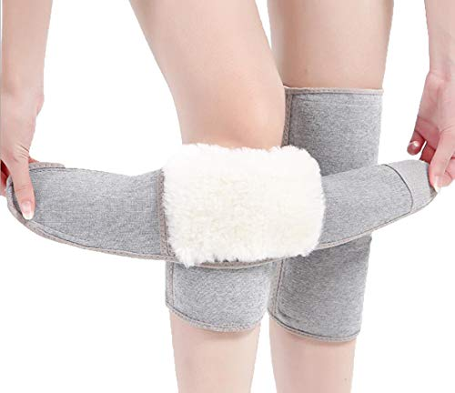Afinder di ginocchiere termiche invernali in cashmere scaldamuscoli da uomo e donna a compressione regolabile in lana calda per le gambe per sci ciclismo danza yoga artrite reumatismo