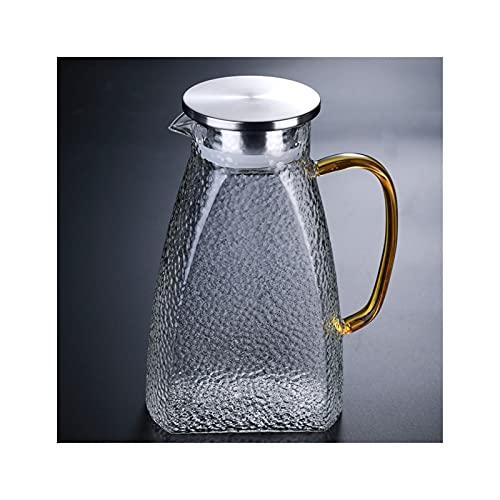 Brocca in vetro borosilicato con coperchio in acciaio inox, beccuccio e manico, alta resistenza al calore per acqua calda/fredda e tè ghiacciato (colore : B)