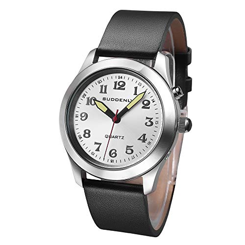 Talking Watches English Waterproof Stainless Steel for Unisex with Luminous Watch Hands, with PU Leather Black Watchband Practical Voice Time Watch
