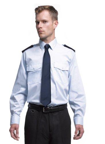 Easy Care Langarm Security / Piloten Hemd mit Brusttaschen - Farbe: Light Blue - Größe: 43