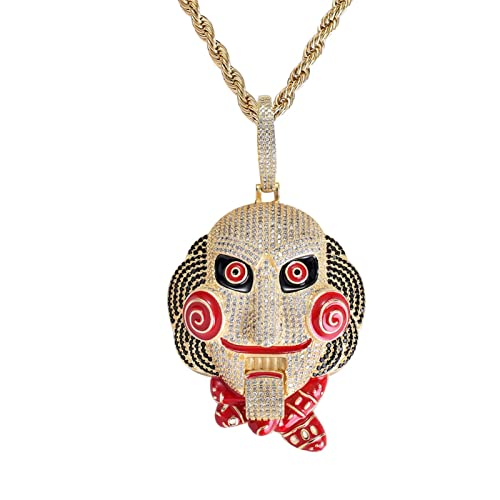 BoGee Play Necklace Hip- hop Mask Doll Big Mask Iced Pendant Nekclace Fashion Necklace Movie Character Chainsaw Horror Halloween (Metal Color : C)