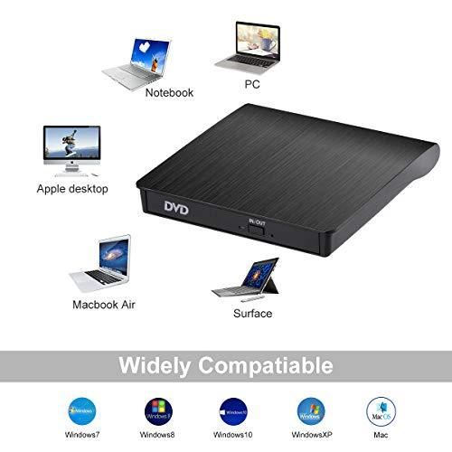 BEVA Externes CD DVD Laufwerk, USB 3.0 PC Laufwerk Tragabar CD Brenner DVD-RW DVD/CD, Kompatibel mit Win10/XP/Win 7/Win 8, Laptop, Mac, MacBook Air/Pro