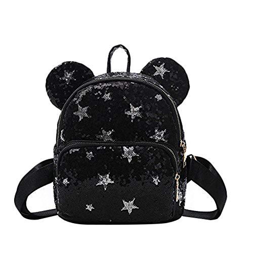 Minsa 1 bolsa de hombro de lentejuelas pequeña diseño de moda portátil de múltiples colores mochila escolar para niñas y mujeres, Black (Negro) - 54O3933EP9D10U26J40ADR