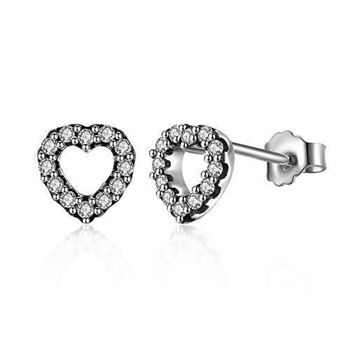 Hart Stud 925 Sterling Zilver Be My Valentine Hart Stud Oorbellen, Duidelijke CZ Femme Stud-Oorbellen sieraden